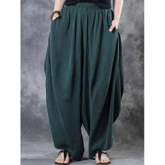 Women High Elastic Waist Loose Harem Baggy Pant-Women Bottoms-SJI Shop