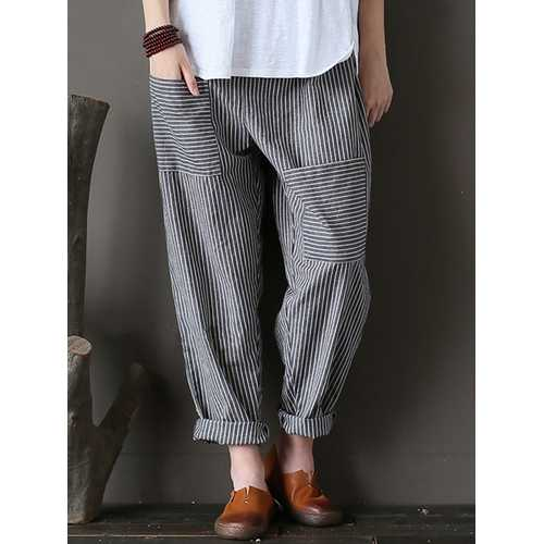 M-5XL Women Stripe Elastic Waist Harem Pants-Women Bottoms-SJI Shop