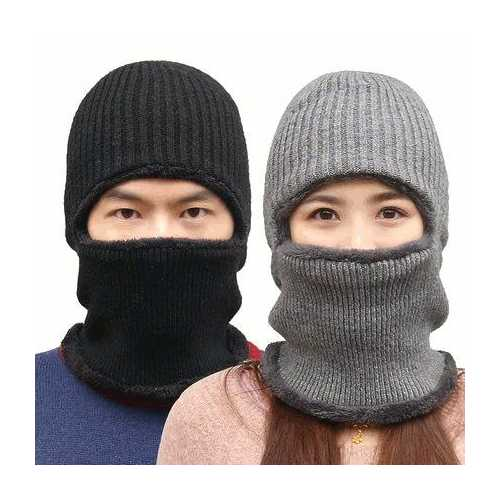 Knitted Hat Scarf Cap Neck Warmer Winter Siamese Hood Hats For Men Women Skullies Beanies Fleece-Sports & Outdoor-SJI Shop
