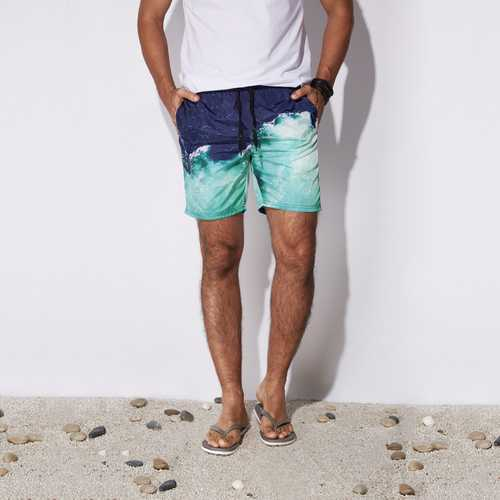 Mens Quick Drying Summer Hawaiian Style Beach Board Shorts-Men Beachwear-SJI Shop