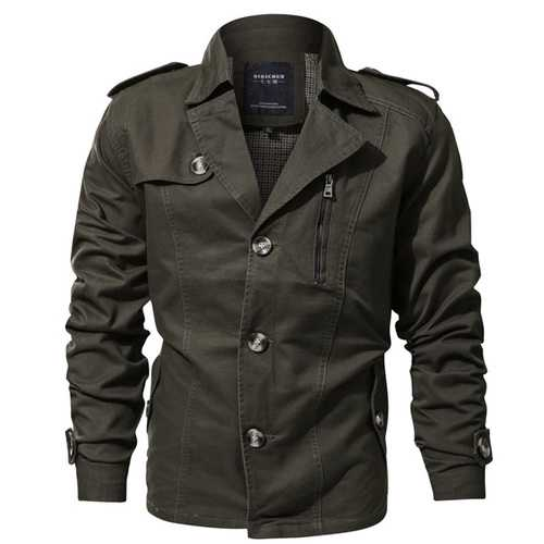 Mens Lapel Collar Spring Trench Coat Military Cotton Jacket-Men Outwear-SJI Shop