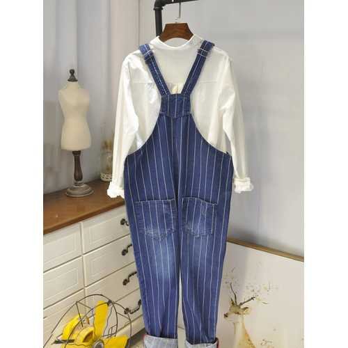Denim Stripe Pockets Rompers-Women'S Clothing-SJI Shop