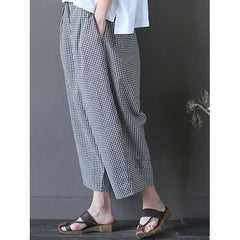 Plaid Elastic Waist Vintage Trousers-Women Bottoms-SJI Shop