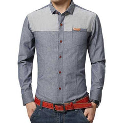 Mens Patchwork Cotton Linen Pocket Elegant Non-iron Shirt-Men Shirts-SJI Shop