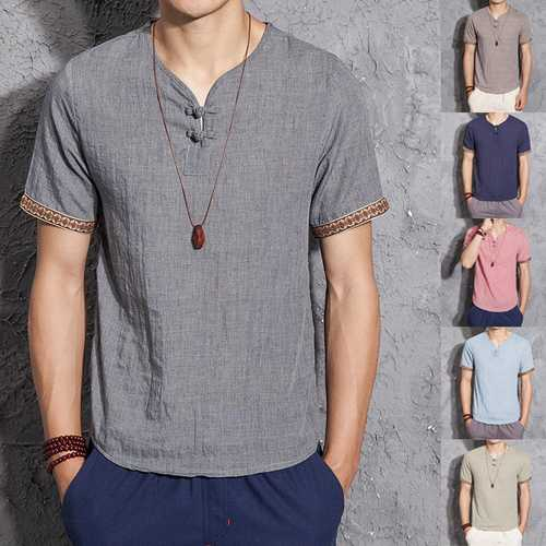 Mens Linen Chinese Style Retro Solid Color Summer Shirt-Men Shirts-SJI Shop