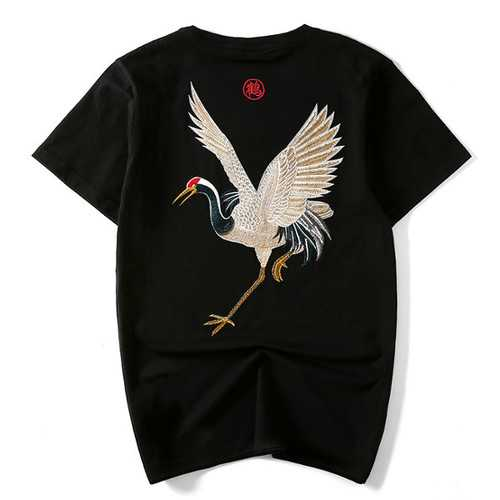 Chinese Style National Wind Embroidery Crane Cotton T-shirts-Men's Clothing-SJI Shop