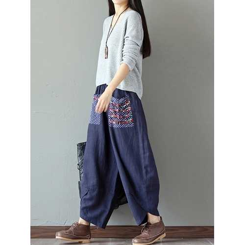 Casual Women Elastic Print Patchwork Irregular Pant-Women Bottoms-SJI Shop