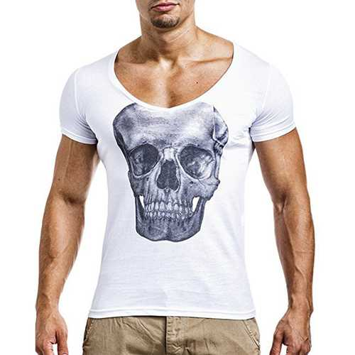Mens Casual Skeleton Printed Short Sleeve Tops-Men's Clothing-SJI Shop