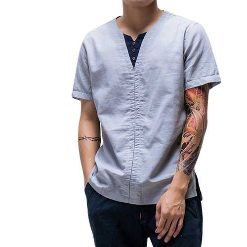 Chinese Style Thin Cotton Linen Solid Color Tops-Men's Clothing-SJI Shop
