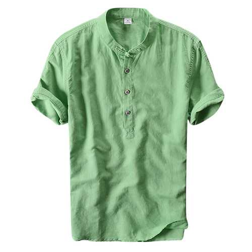 Chinese Wind Mens Casual Cotton Linen Short Sleeved T-shirts-Men's Clothing-SJI Shop