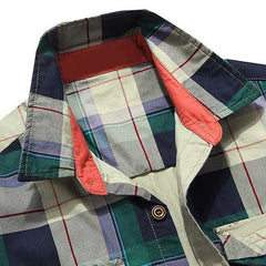 Mens Cotton Plaid Printing Spring Pocket Cargo Work Shirts-Men Shirts-SJI Shop