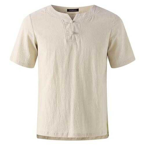 Men's Casual Cotton Linen Crew Neck Vintage T-shirt-Men's Clothing-SJI Shop