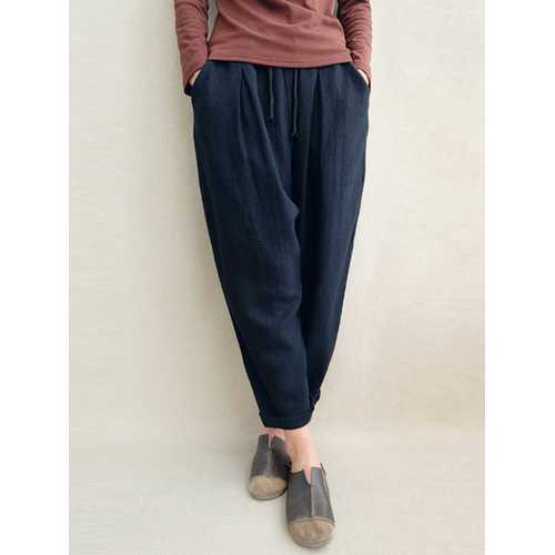 S-5XL Pure Color Elastic Waist Cotton Pants-Women Bottoms-SJI Shop