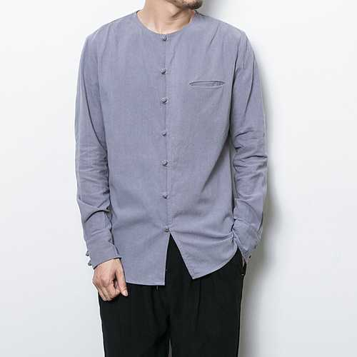Vintage Chinese Button Linen Cotton O Neck Archaic Shirts-Men Shirts-SJI Shop