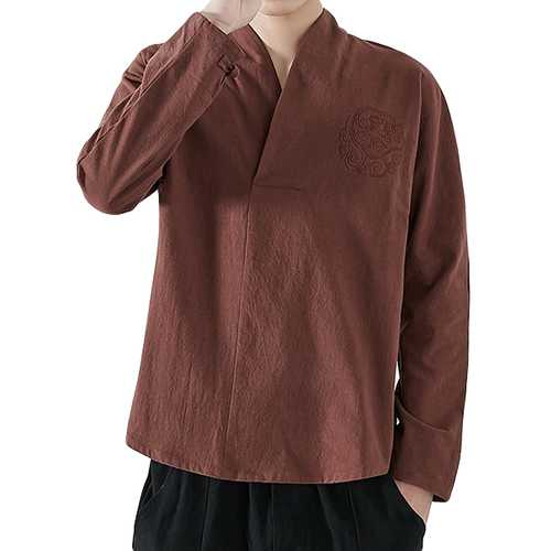 Chinese Style Embroidery V-Neck T-shirts-Men's Clothing-SJI Shop