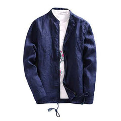 Mens Spring Casual Breathable Linen Stand Collar Thin Jacket-Men Outwear-SJI Shop