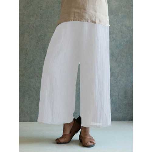 Celmia M-4XL Women Solid Cotton Linen Pant-Women Bottoms-SJI Shop