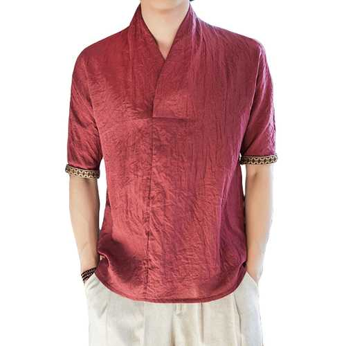 Men's Vintage Chinese Style Cotton Linen T-Shirts-Men's Clothing-SJI Shop