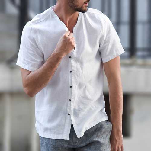 TWO-SIDED Cotton Linen Summer Comfy Pure Color Casual Shirts-Men Shirts-SJI Shop