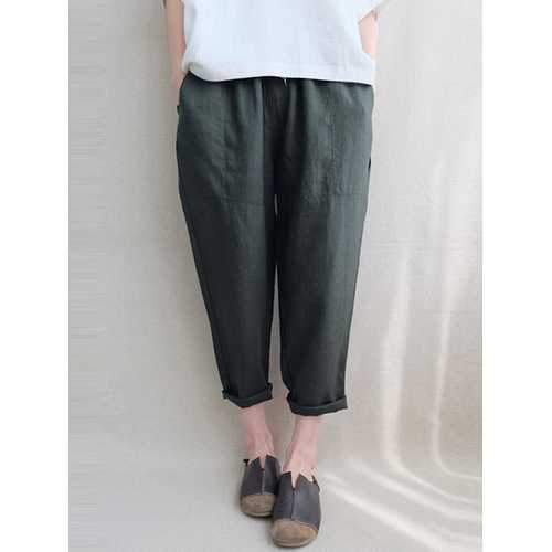 Women Vintage Elastic Waist Solid Cotton Pant-Women Bottoms-SJI Shop