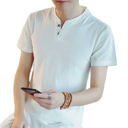 Chinese Style Cotton Linen Fit Vintage T-Shirt-Men's Clothing-SJI Shop