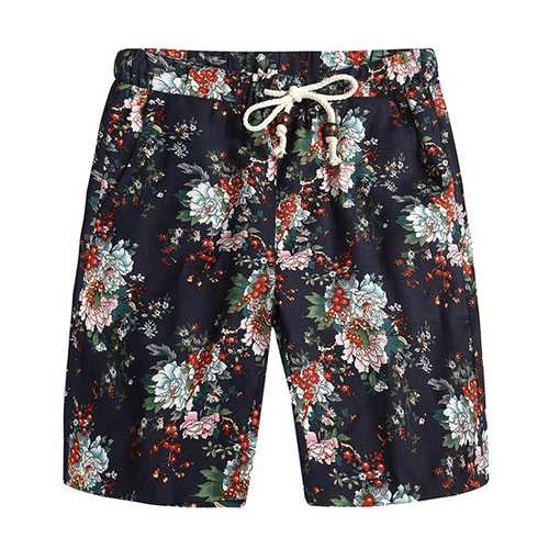 Floral Printing Ethnic Pattern Leisure Beach Board Shorts-Men Beachwear-SJI Shop