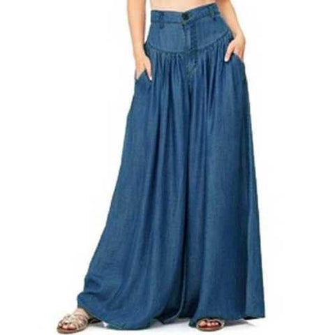 Wide Leg Casual Pure Color Side Pocket Trousers Baggy Pants-Women Bottoms-SJI Shop