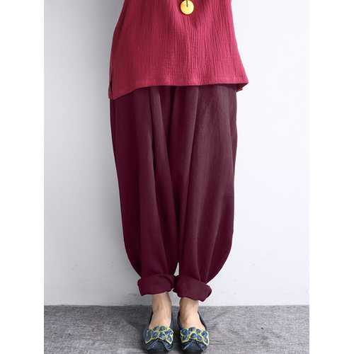 Women Vintage High Waist Loose Linen Cotton Pants-Women Bottoms-SJI Shop