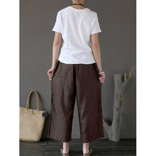 Women Retro High Elastic Waist Wide Leg Pants-Women Bottoms-SJI Shop
