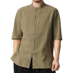 TWO-SIDED Vintage Chinese Style Loose Mandarin Collar Shirts-Men Shirts-SJI Shop