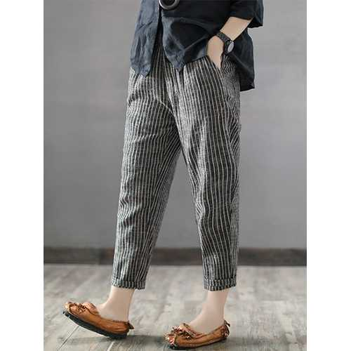 Women Striped High Elastic Waist Long Harem Pants-Women Bottoms-SJI Shop