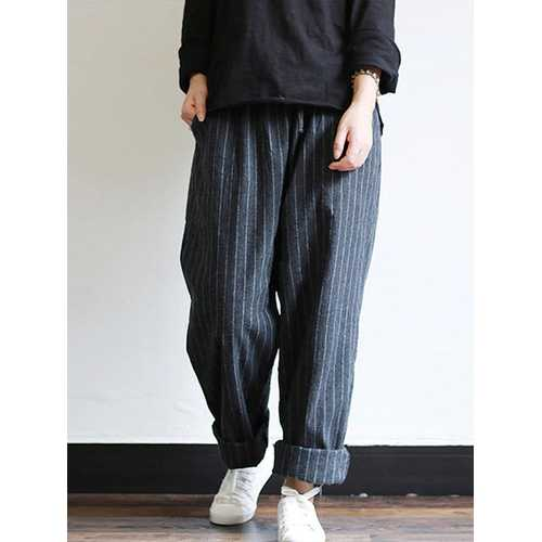 Women High Waist Striped Cotton Harem Pants-Women Bottoms-SJI Shop