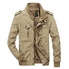 Military Style Epaulet Plus Size S-4XL Cotton Autumn Jacket-Men Outwear-SJI Shop