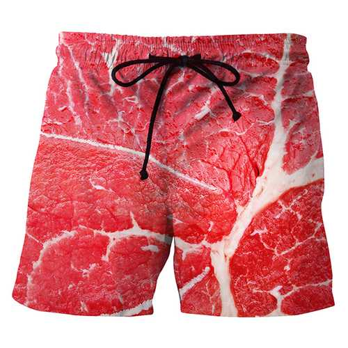 3D Meat Printing Summer Casual Holiday Beach Board Shorts-Men Beachwear-SJI Shop