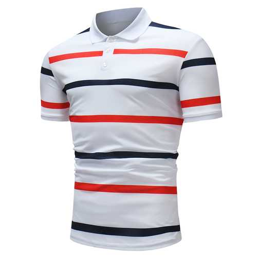 Mens Color Blocking Stripe Wash and Wear Golf Shirt-Men's Clothing-SJI Shop