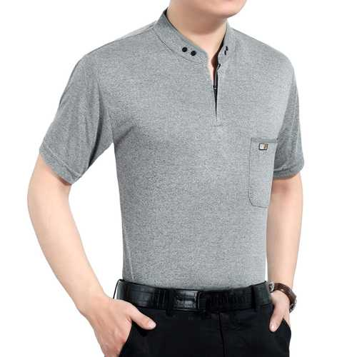 Men's Cotton Button Slim Collar Golf Shirt-Men's Clothing-SJI Shop