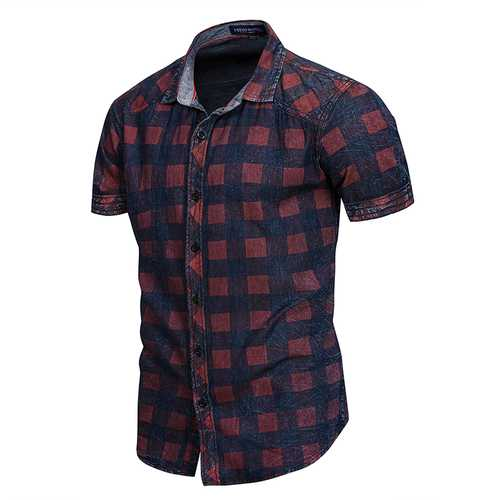 Checkered Pattern Cotton Short Sleeve Shirts for Men-Men Shirts-SJI Shop