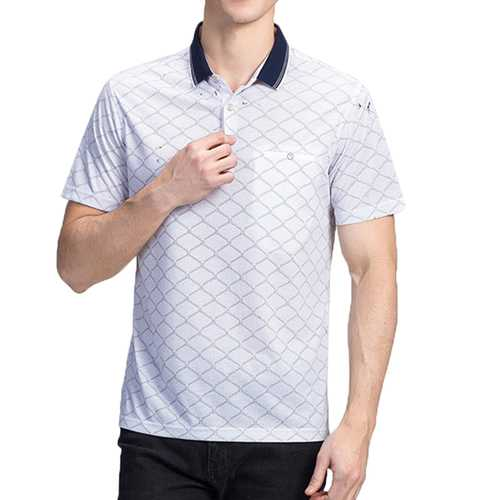 Mens Geometric Printing Wash and Wear Casual Golf Shirt-Men's Clothing-SJI Shop