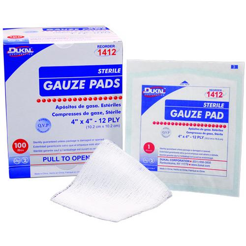 "Case of [60] Dukal Gauze Pad, 2""x2"", 12 ply, Sterile 10 Count-Healthcare-SJI Shop"