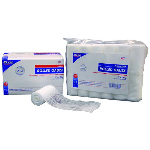 "Case of [8] Dukal Non-Sterile 3"" Rolled Gauze - 12 Count, 2-Ply, 5 yds."