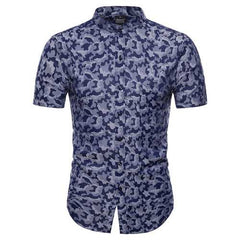 Summer Fashion Camo Printing Short Sleeve Band Collar Shirts-Men Shirts-SJI Shop