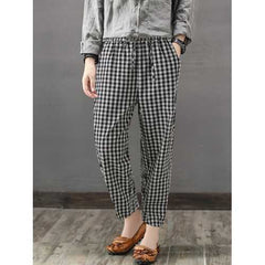 Women Casual Elastic Waist Plaid Long Pants-Women Bottoms-SJI Shop