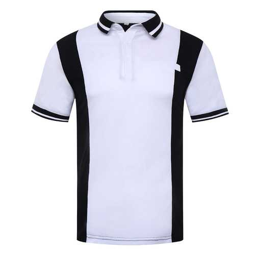 Men's Black White Hit Color Design Golf Shirt-Men's Clothing-SJI Shop