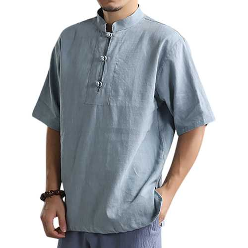 Men's Stand Collar Solid Color Loose T-Shirts-Men's Clothing-SJI Shop