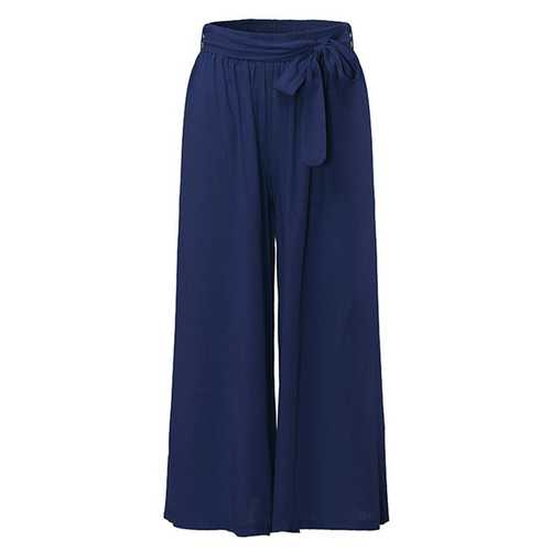 Women Cotton Wide Leg Casual Pure Color Trousers Pants-Women Bottoms-SJI Shop