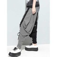 Women Casual Drop-Crotch Patchwork Harem Pants-Women Bottoms-SJI Shop