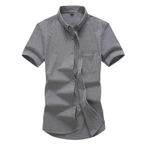 Mens Busniess Vertical Striped Printing Work Casual Shirts-Men Shirts-SJI Shop