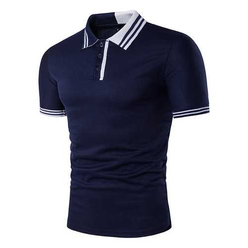Men's Simple Stripes Turn-down Collar Leisure Golf Shirts-Men's Clothing-SJI Shop