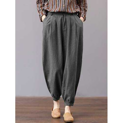 Women High Waisted Striped Stretch Bottom Pants-Women Bottoms-SJI Shop
