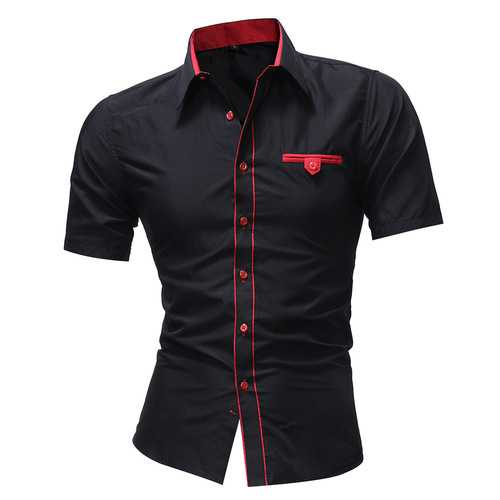 Mens Contrast Color Fit Turn Down Collar Short Sleeve Shirts-Men Shirts-SJI Shop
